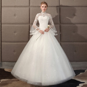 High Neck Long Transparent Flare Sleeve Princess ALine Tulle Wedding Dress