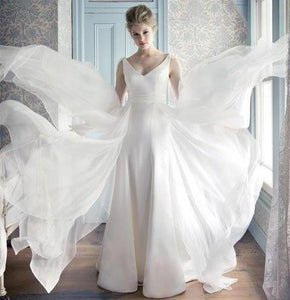 VNeck Zipper Floor Length Flare Tulle Open Back Solid Luxury Bridal Wedding Gown