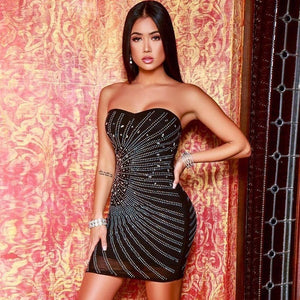 -Women Sexy Sleeveless Bodycon Dress Evening Party Mini Short Sequined Dress