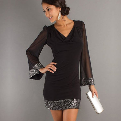 -Women's Casual V-Neck Sequined Long Sleeve Stitching  Mini Dress