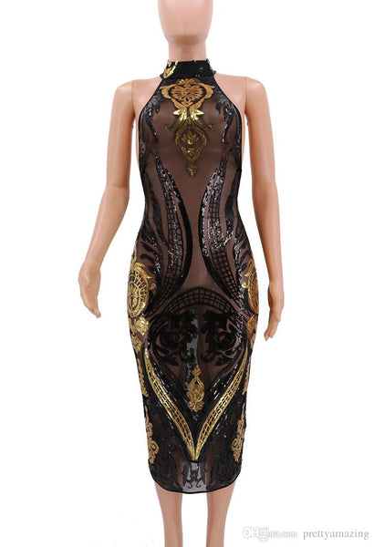 Women's Famous Fashion Sequinned See Through Illusive Dress