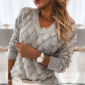 Women's Casual loose V-neck Solid Feather Design Knit Sweater - ICU SEXY