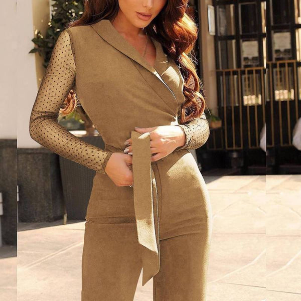 Women's Long Sleeve Mesh Polka Dots Solid Jumpsuit V Neck Wide Leg Pants