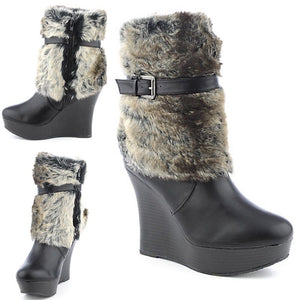 New PU leather & Fur Wedge Platform Heel Fashion Snow Boots