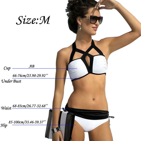 -Summer Women Padded Wireless Bikini Set Two Piece Swimwear Swimsuit Beachwear US