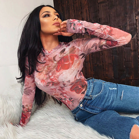 Women;s Pink Long Sleeve Sheer Mesh Floral Crop Top T-Shirt Blouse