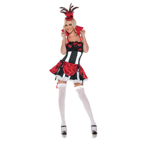 Size M Adult Women's Sexy Queen of Hearts Alice in Wonderland Burlesque Deluxe Costume