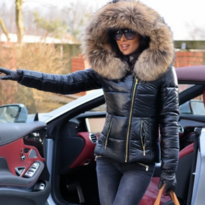 -Women's Ladies Quilted Winter Coat Fur Collar Hooded Down Jacket Parka Outerwear