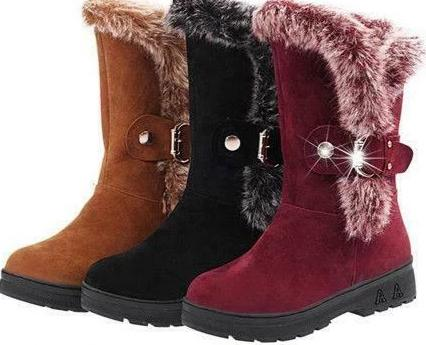 Women's Designer Style Fur Lined Mid Calf Fashion Boots