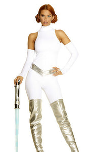 -Sexy Forplay Galaxy Goddess Star Wars White Catsuit Princess Leia 3pc Costume