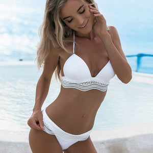 Women's Swimwear Bandage Bikini Set Pushup Padded Bra Ladies Bathing Beachwear