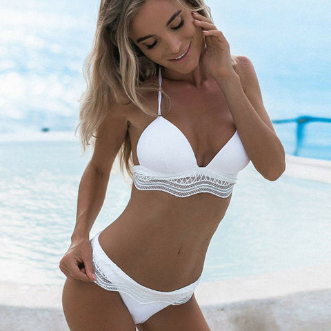 Women's Swimwear Bandage Bikini Set Push-up Padded Bra Ladies Bathing Beachwear