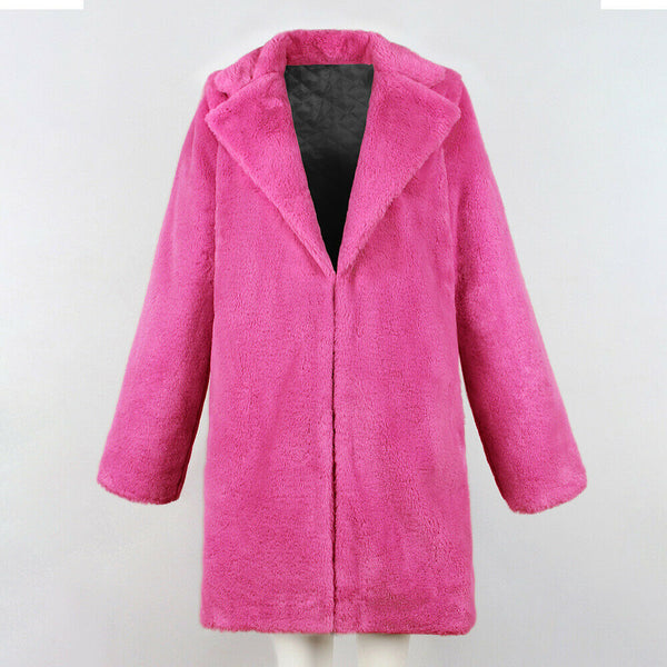 -Women's Trendy Pink Thicken Faux Fur Lapel Parka Collar Jacket Winter Coat