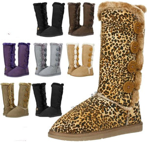 New Women's Four Button Fur Lined Shearing Mid Calf Winter Fashion Boots