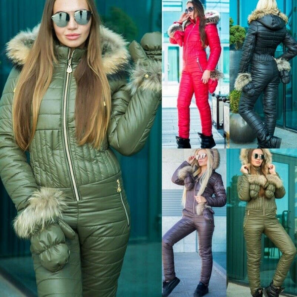 Women's Brand Fashion Hooded Ski Suit Snow Jumpsuit