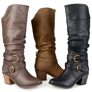 Women's New Wide Calf Slouch Buckle High Heel Fashion Boots