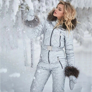 -Womens Ski Suit Windproof Jumpsuit Hooded Playsuit Winter One Piece Snowsuit Gloves