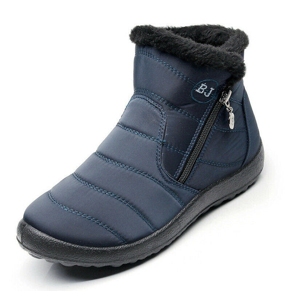 Winter Fashion Warm Fur-lined Slip On Waterproof Ankle Snow Boots Slip