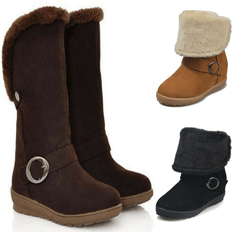 Womens Mid Calf Fur Lined Winter FoldOver Flat Fashion Boots