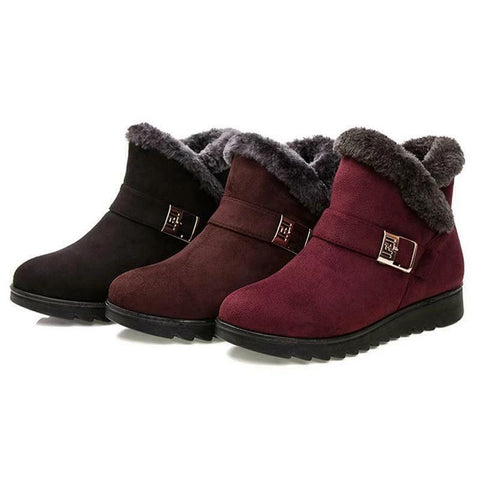 Women's Trendy Winter Fashion Fur Lined Fashion Ankle Boots
