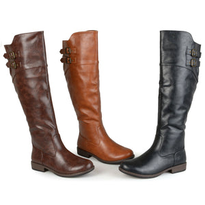 Women'ss Wide And Extra Wide Calf Buckle Detail Riding Boots