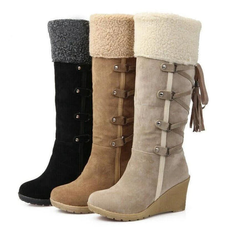 Women's Winter Boots To Mid-calf-colored Wedges Fur Lined Winter Fashion Boots