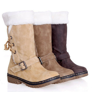 Women's Winter Boots Snow Fur Warm Waterproof Midi Calf Ski Flat Shoes Size 6-10.5