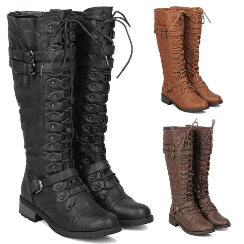 Women's Military Combat Boots Knee High Lace Up Buckle Riding Boots