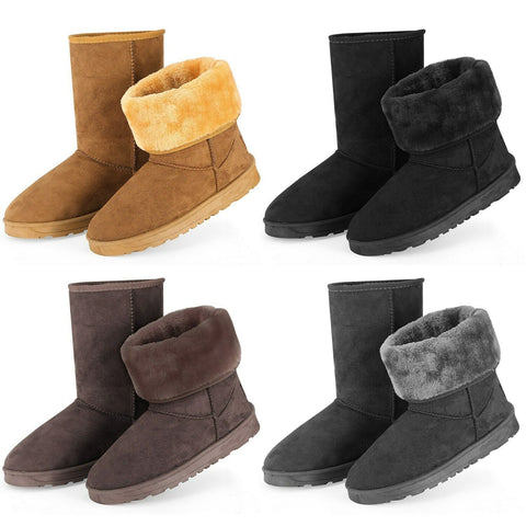 Women's  Waterproof PU Suede Mid-Calf Fur Fashion Boots