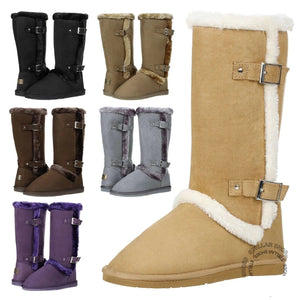 New Women's Mid Calf Twin Buckle Winter Fur Lined Suede Fashion Boots