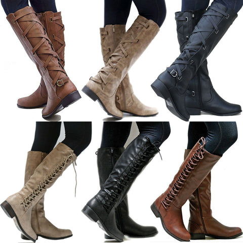 Women PU Mid Calf Long Low Heels Lace Up Riding Boots