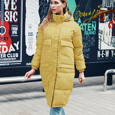 -New Women's Casual Hooded Long Soft Quilted Down Zip Up Coat Outwear