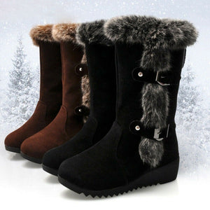 Women's Winter Warm Fur Lined Buckle Mid Calf Fashion Boots