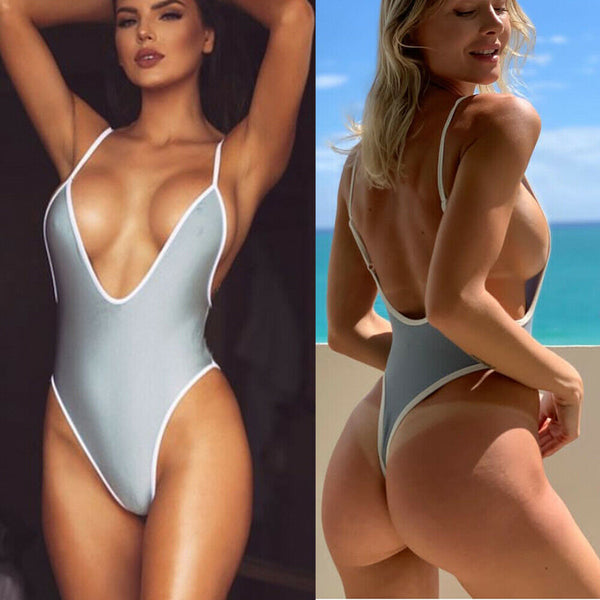 Women 's Sexy Deep V Neck One Piece Backless Thong Swimsuit