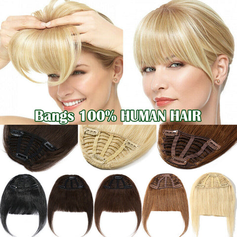 -100% Handmade Clip in Real REMY Human Hair Bangs Fringe Hair Extensions