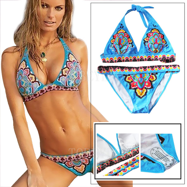High Neck Boho Ethnic bikini Set Swimwear Swimsuit Bathing suit Push up women's