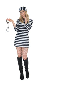 -Women's Convict Prisoner Costume Womens Jailbird Halloween Robber Fancy Dress Outfit