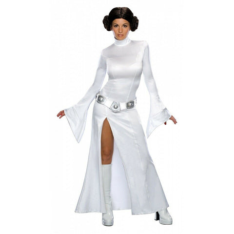 -Deluxe Princess Leia Costume Adult Star Wars Halloween Costume Includes Wig