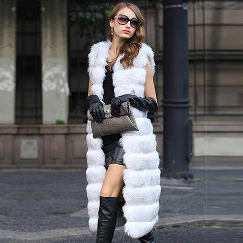 New European Women's Fashion Sleeveless Thick White Mink Fur Coat