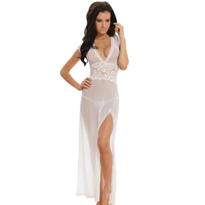 Full Length Deep V Solid Sexy Lace Nightgown