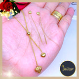 18K Real Gold Set of Earrings & Necklace
