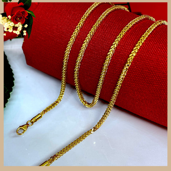 18K Real Gold Wheat Chain 18""