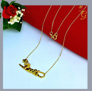18k Real Gold Panther Necklace
