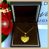 18K Real Gold Heart Necklace 18""