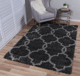 Siesta Lattice Charcoal Grey Shag Rug
