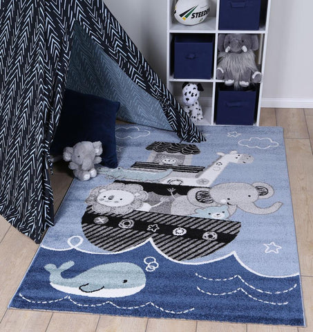 Nova Kids Saling Ship Blue Rug
