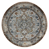Brown Roman Mosaic Classic Grey Brown Round Rug