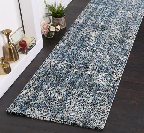 Roman Mosaic Solid Grey Turquoise Runner