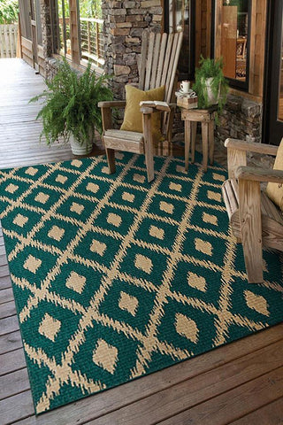 Alfresco Indoor Outdoor Collection 6505 Turquoise Rug