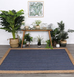 Hampton Navy Centre Jute Rug